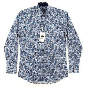 NWT Bertigo James 92 Navy Long Sleeve Shirt XS
